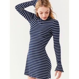 OU Navy Striped Mock-Neck-Bell-Sleeve Dress